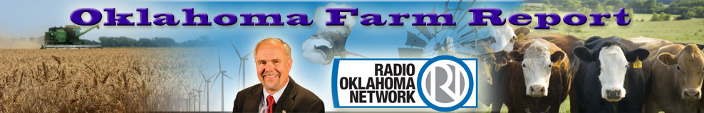 Oklahoma Farm Report masthead graphic with wheat on the left and cattle on the right.